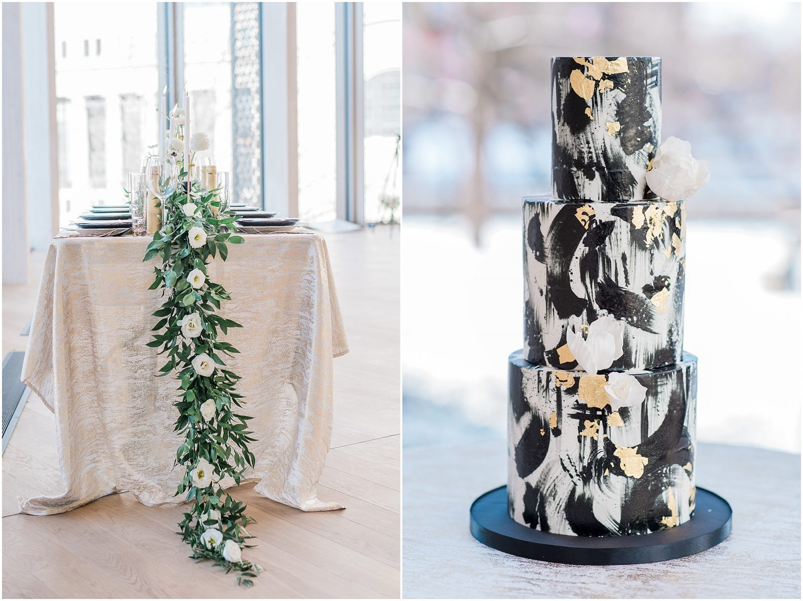Wedding O'Born Room NAC Ottawa - New Years Glam Wedding Inspiration - floral table runner