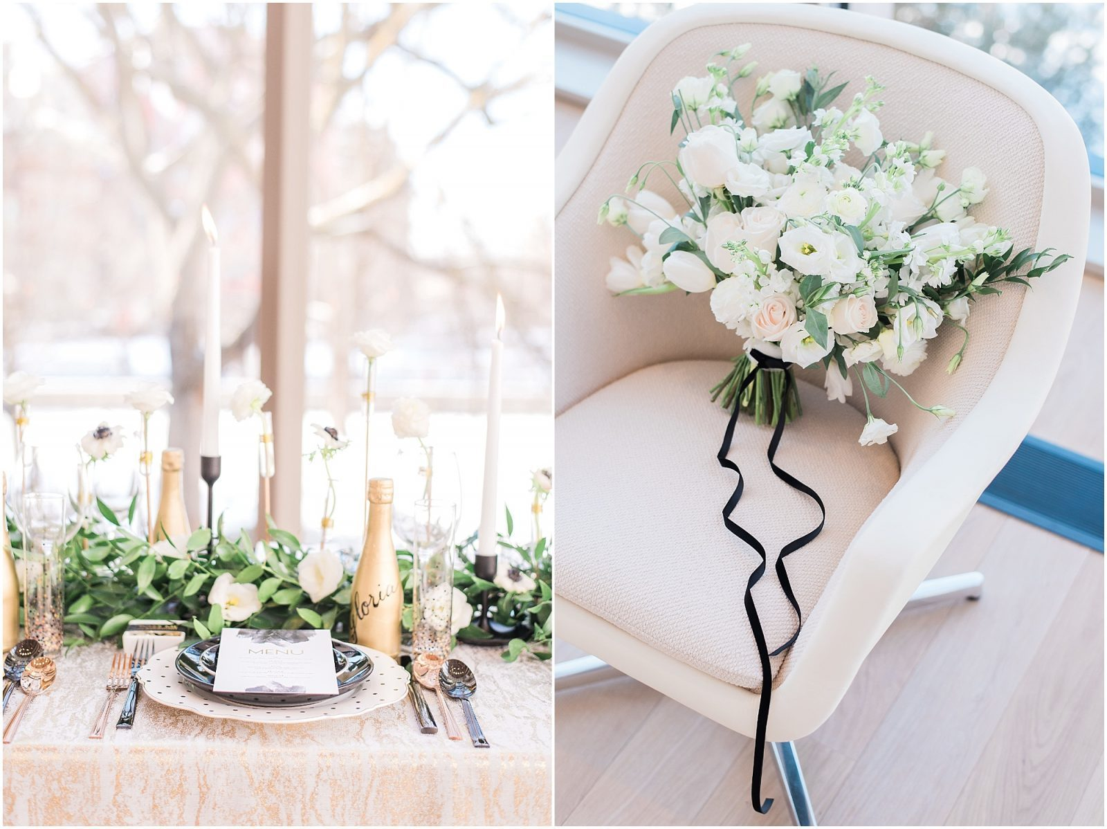 Wedding O'Born Room NAC Ottawa - New Years Glam Wedding Inspiration - lush white and green bouquet