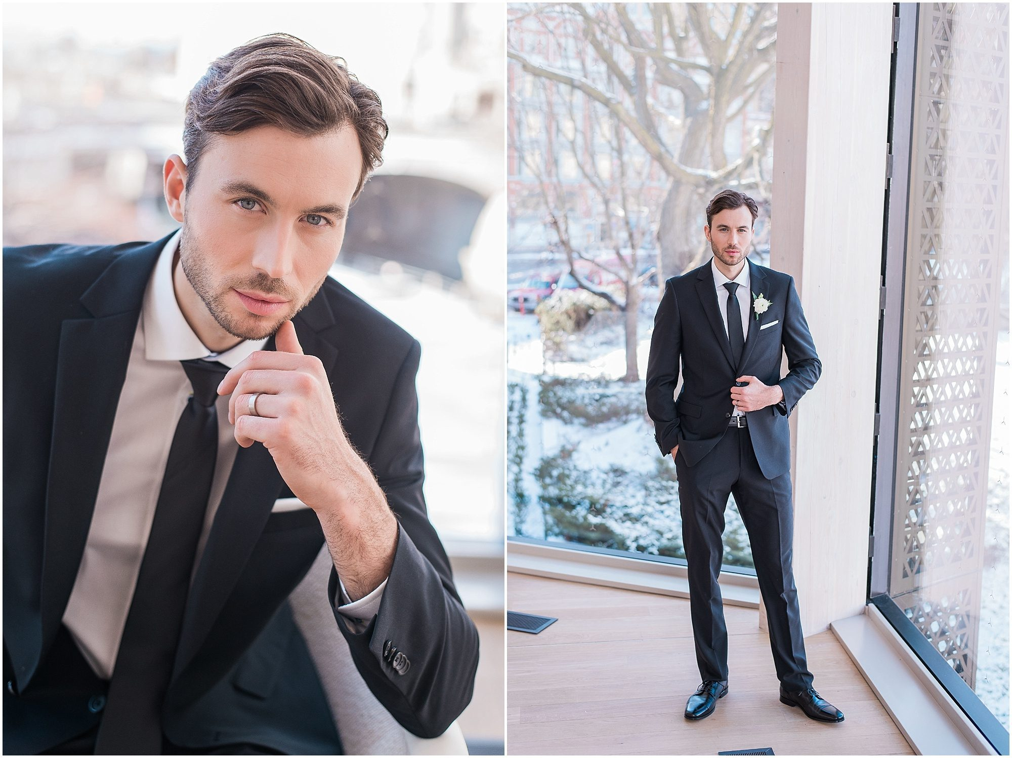 Wedding O'Born Room NAC Ottawa - New Years Glam Wedding Inspiration - groom in black tux