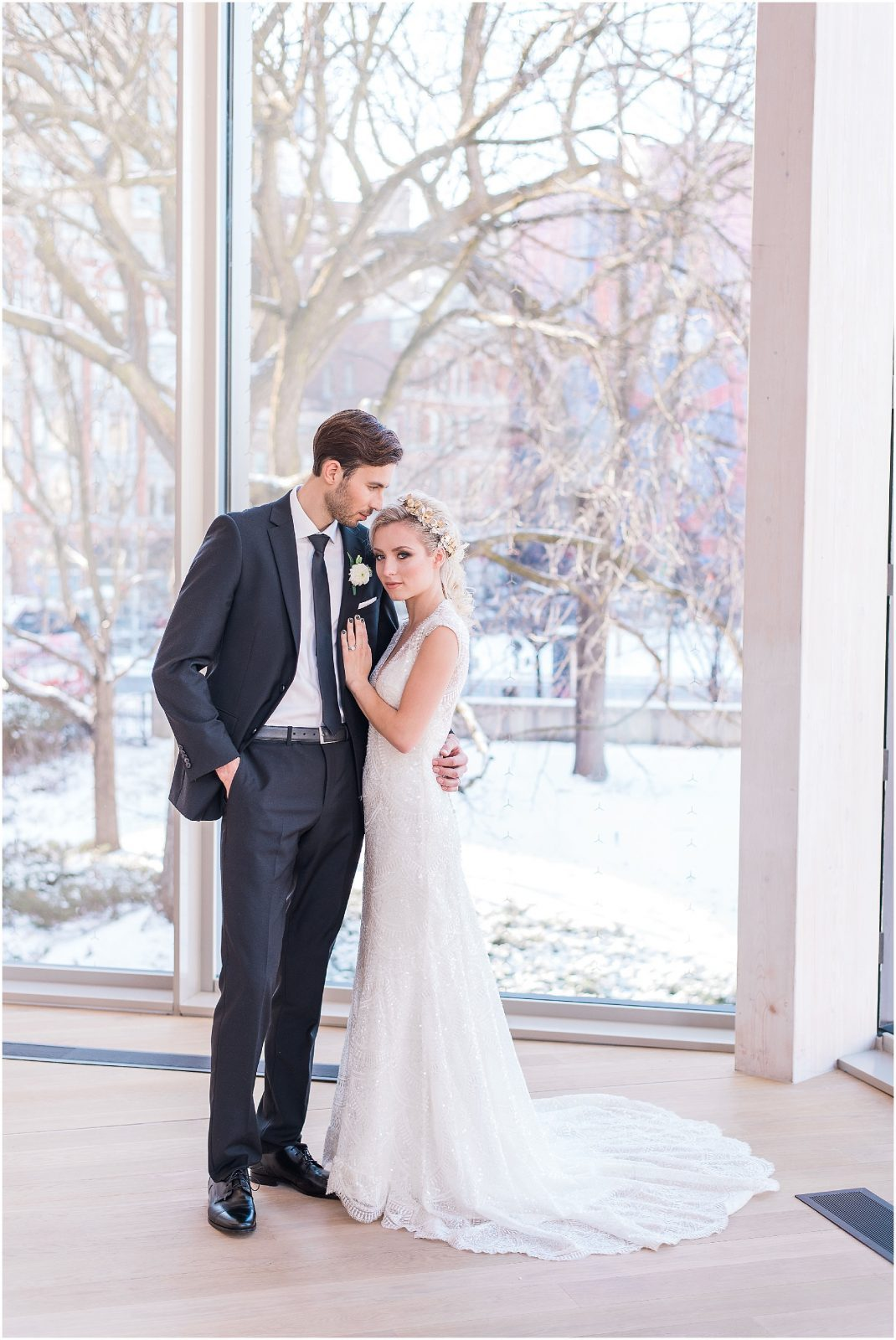 Wedding O'Born Room NAC Ottawa - New Years Glam Wedding Inspiration - beaded wedding dress