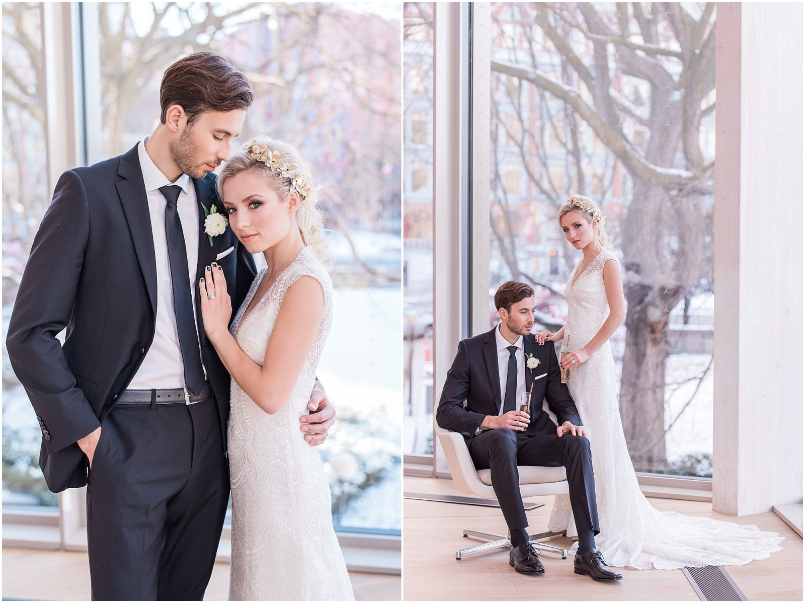 Wedding O'Born Room NAC Ottawa - New Years Glam Wedding Inspiration - tall and short couple posing