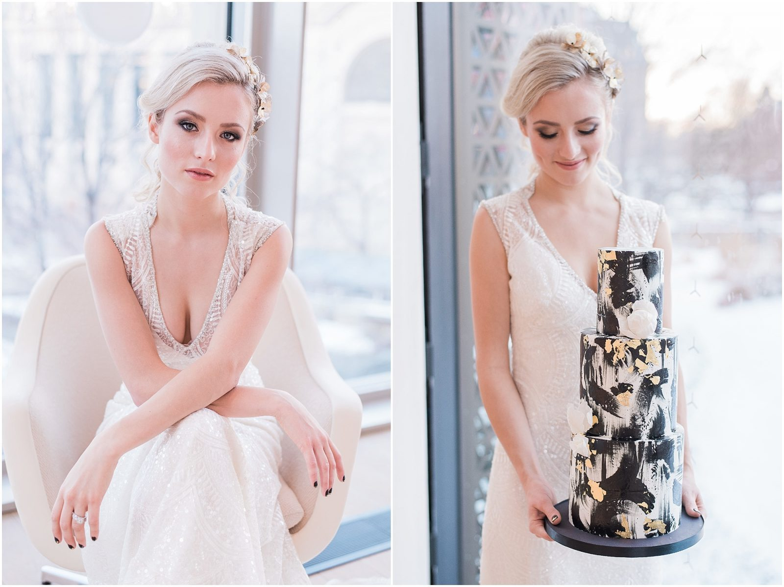Wedding O'Born Room NAC Ottawa - New Years Glam Wedding Inspiration - bright and airy ottawa wedding photographer - elegant bride holding cake