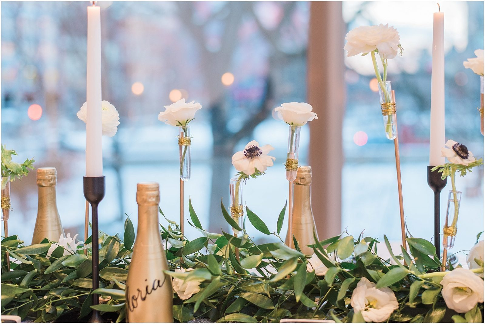 Wedding O'Born Room NAC Ottawa - New Years Glam Wedding Inspiration - bright and airy ottawa wedding photographer - floating flower and garland table runner