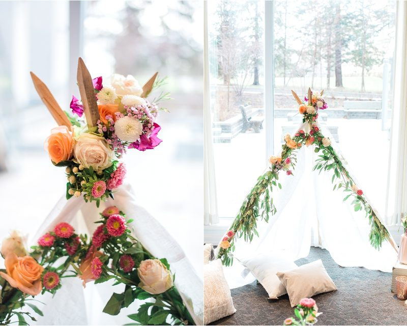 Ottawa boho baby shower - ottawa photographer - teepee with fresh flowers
