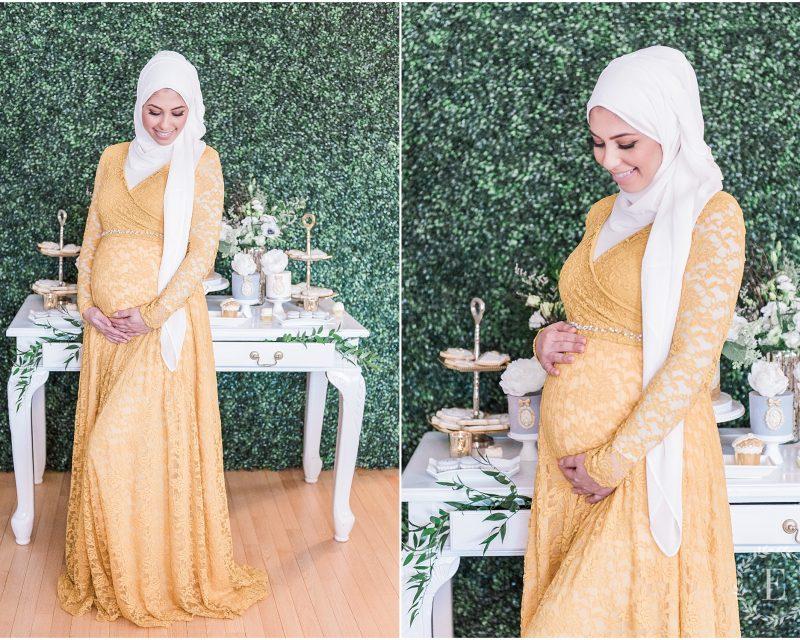 Modern high tea baby shower - Ottawa baby shower - hanan tehaili - hijabi maternity - grey, white and gold baby shower