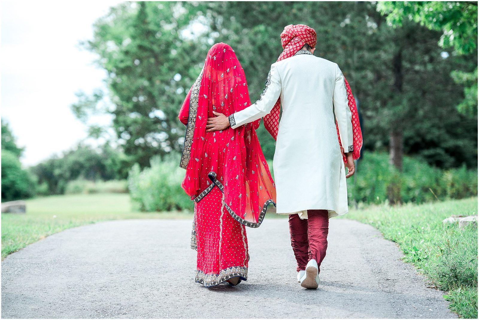 South Asian Wedding Toronto Photography - Mehndi, Nikah, walima, indian wedding, pakistani wedding. Sarah & Sajid - bride and groom walking away
