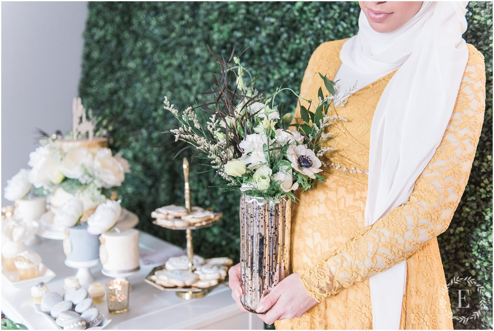 Modern high tea baby shower - Ottawa baby shower - hanan tehaili - hijabi maternity - grey, white and gold baby shower