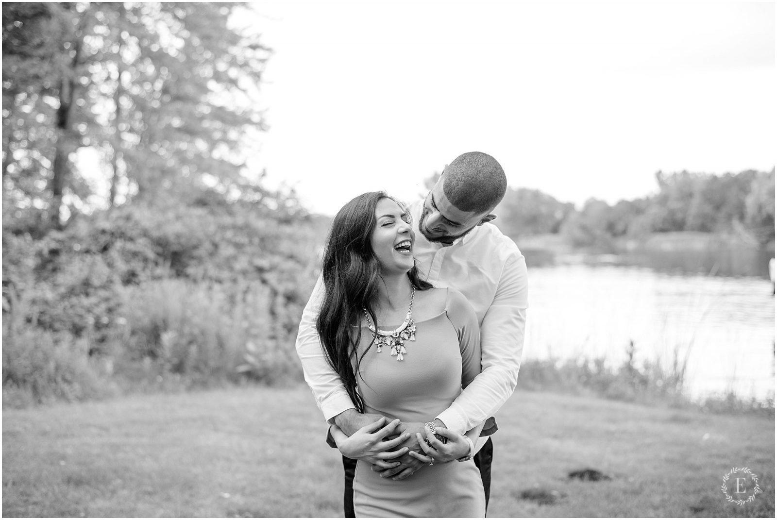 Engagement - Long Island Locks - Ottawa - black and white - couple laughing
