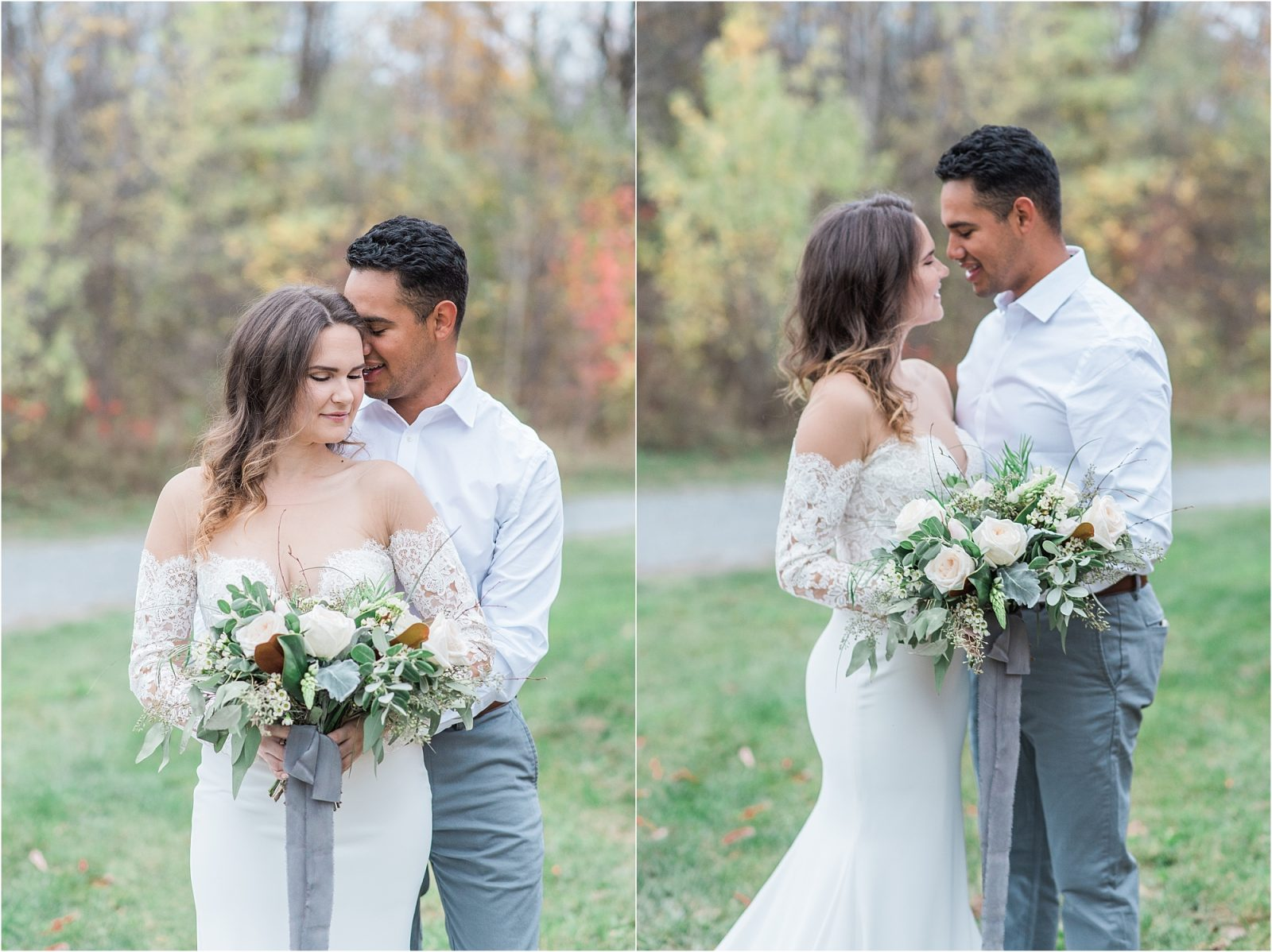 wedding photography branding - dusty blue and grey,long sleeve pronovias gown, fall wedding