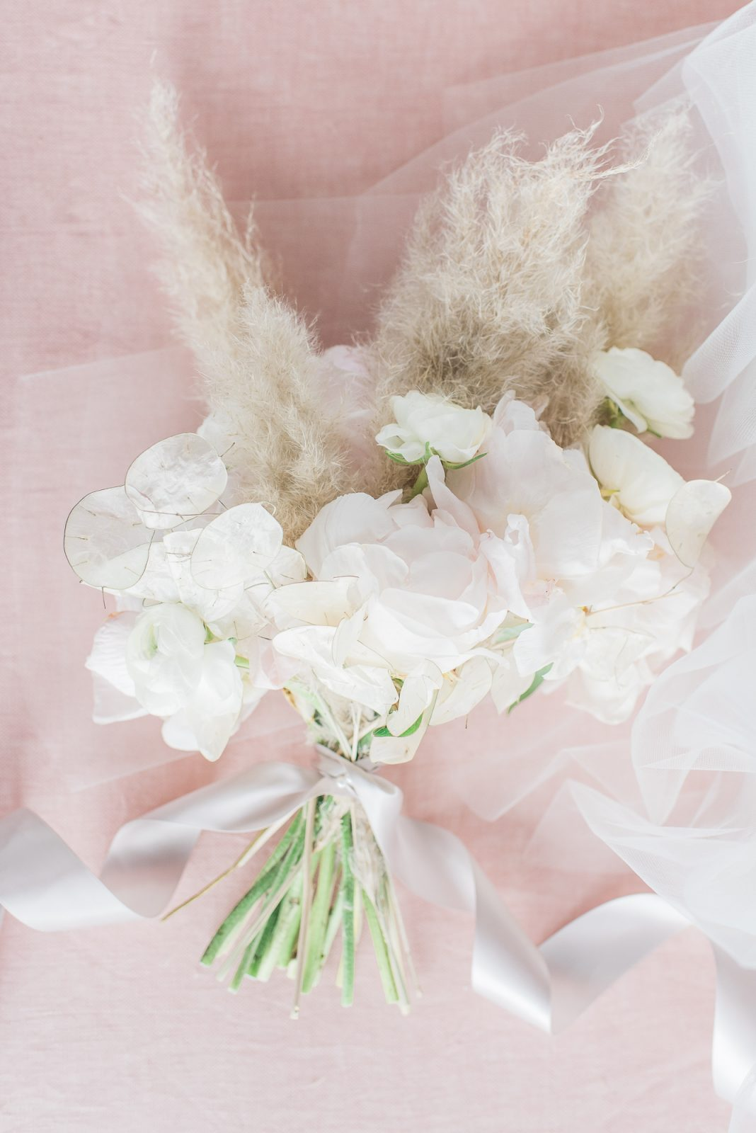 No greenery bouquet - ottawa - pink and pampas grass - peony