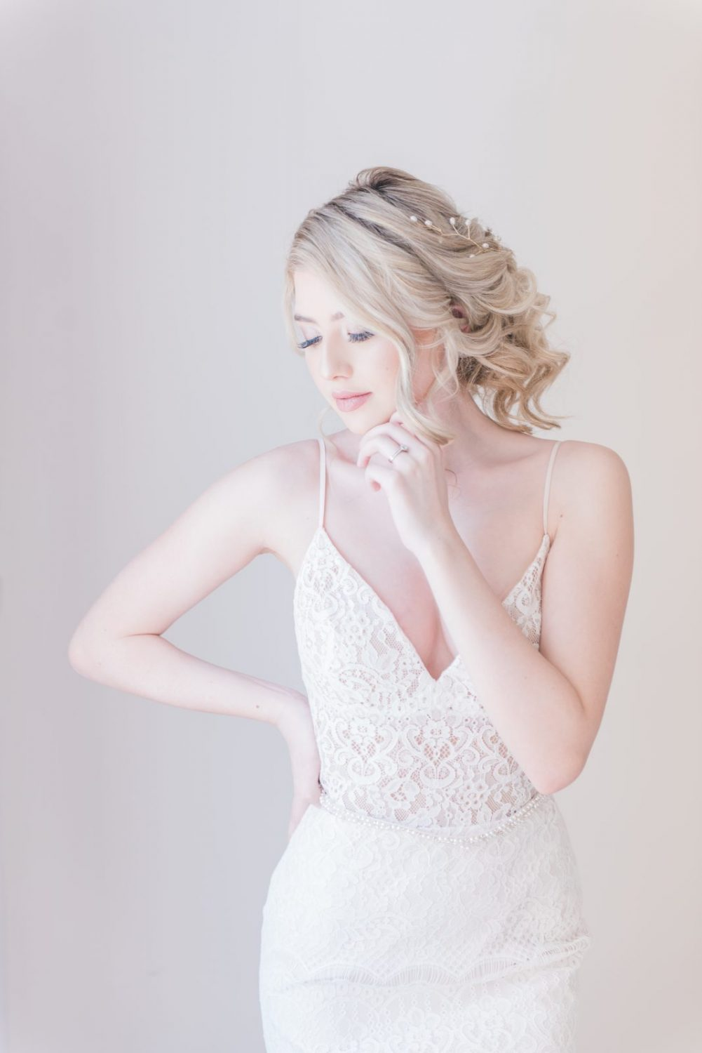 Bridal look, boho updo, lace gown - photography by emma