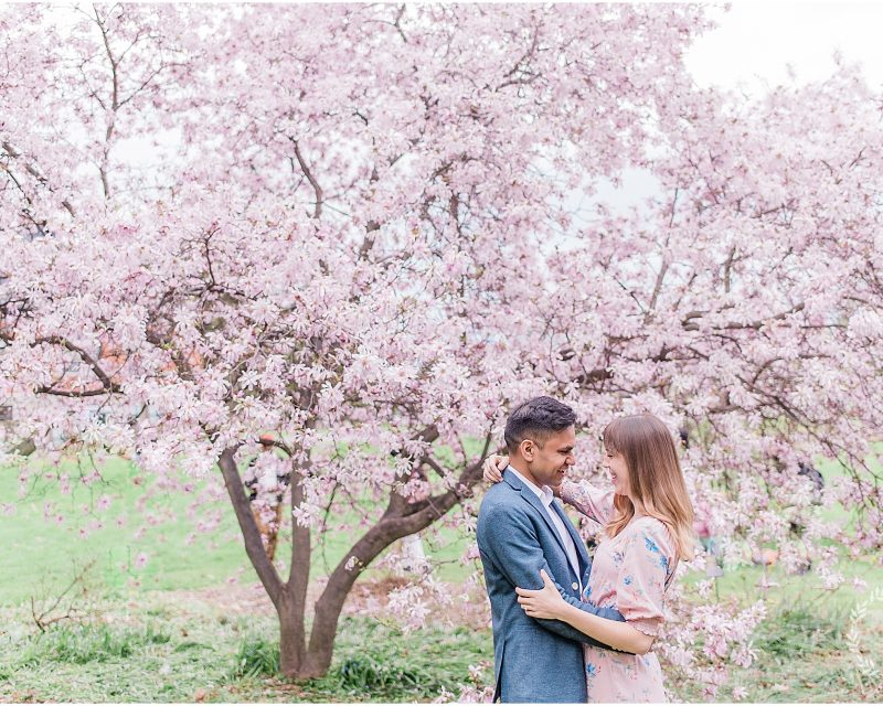 ottawa photography locations - cherry blossom engagement